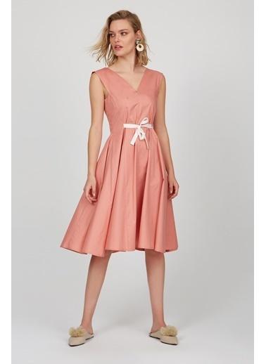 Setre Kahverengi V Yaka Volanlı Elbise Somon